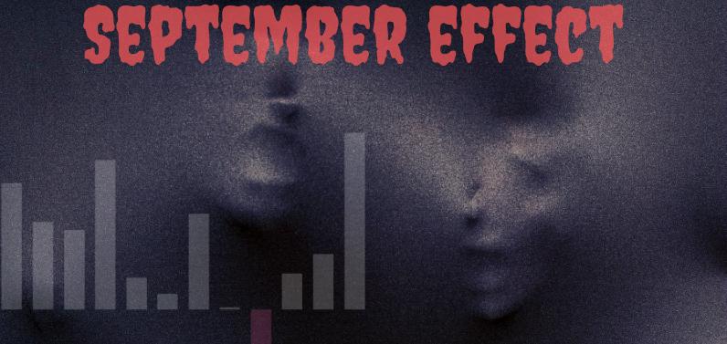 Fotka dvou tváří zírající na graf s nápisem September effect. Zářijový efekt je na finančích trzích známý úkaz.