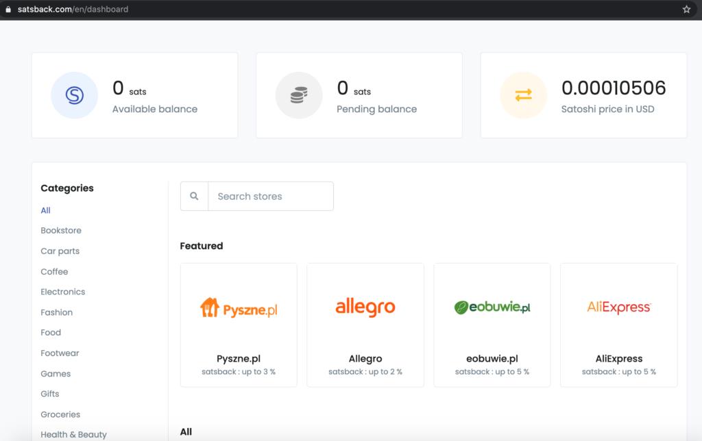 Dashboard aplikace Satsback nabízející  Bitcoinový cashback.