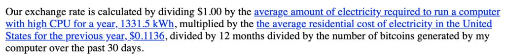 Obrázek vysvětlující jakým způsobem se počítala cena Bitcoinu v roce 2009, resp. jak ji počítal portál New Liberty Standard