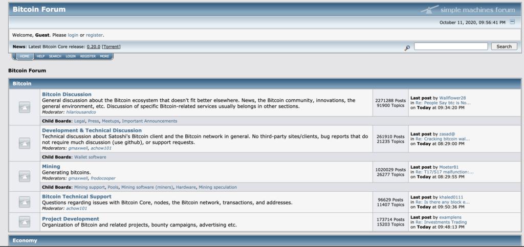 Snímek hlavní stranky BTC fóra bitcointalk.org