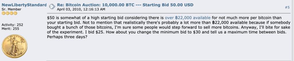 Snímek z příhozu uživatele NewLibertyStandard, který nabízí 25 dolarů za hromádku 10 000 BTC.