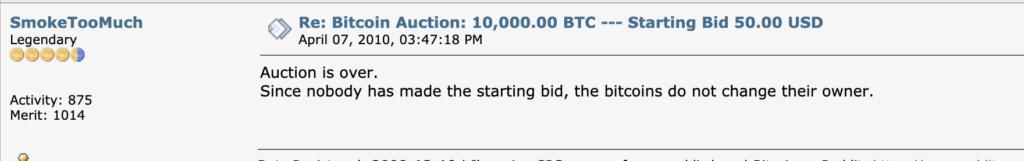 Snímek z příspěvku uživatele SmokeTooMuch, který pro nedo ukončuje aukci