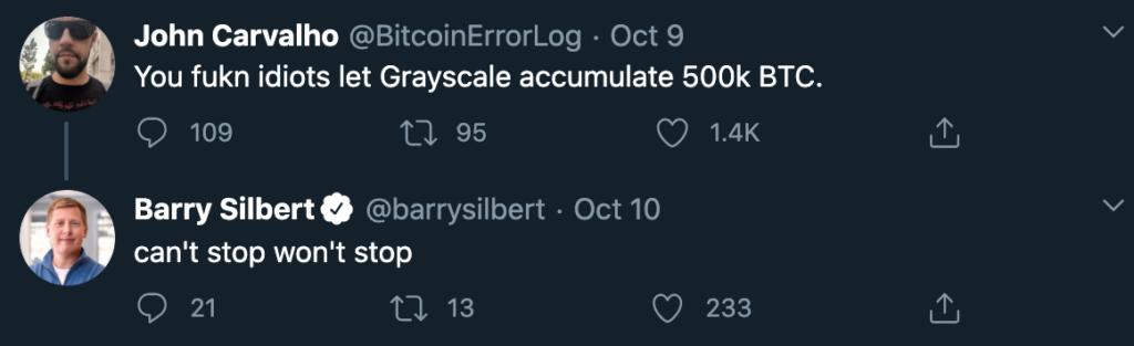 Snímek z Twitteru, kde Barry Silbert konstatuje, že v nákupech BTC nehodlá zpomalovat.