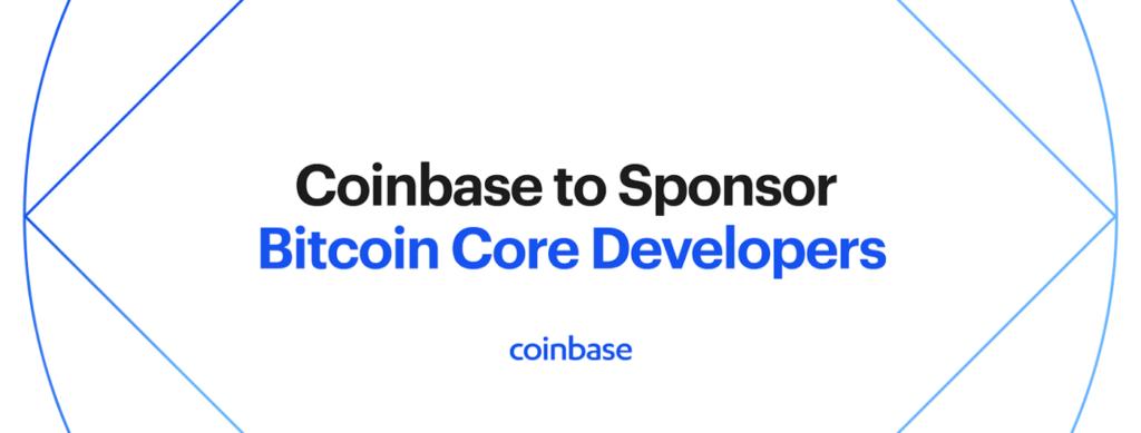 Grafika zobrazující nápis ohlašující rozhodnutí Coinbase sponzorovat vývojáře